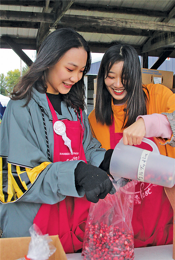 Volunteers involved in the Northland Pines High School student exchange program bagged cranberries Saturday.