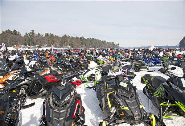 Snowmobiles of every modern make and model, as well as some vintage sleds, covered the Little St. Germain Lake ice Saturday. Radar Run officials said it was the largest turnout of spectators they've ever seen. —Photo By Dean S. Acheson