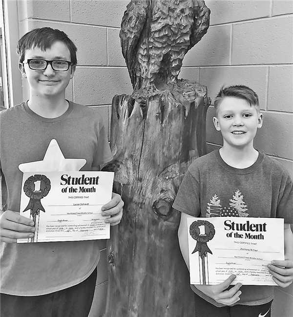 Eighth-grader Lucas Schmidt, left, and seventh-grader Zachary Ritter were named Northland Pines Middle School February Students of the Month. —Contributed Photo