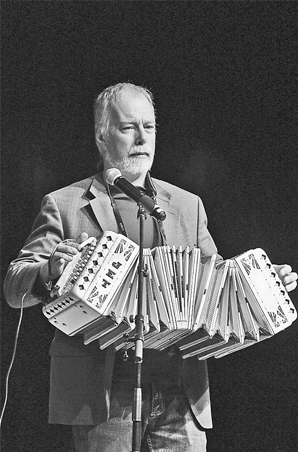 Mark Pieplow with the concertina, the last act of the night that had people dancing to polkas in the aisles.