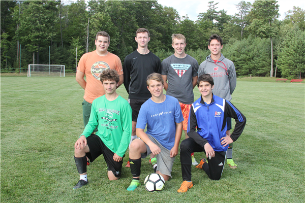 Seniors on the Northland Pines boys soccer team include, front row from left, Zach Maillette, Alex Sternhagen and Lima Oas; and back row, Jesse Ebert, Brett Wilkins, Bjorn Luebke and Brady Snedden. Missing was Lawson Bau. —Staff Photos By GARY RIDDERBUSCH