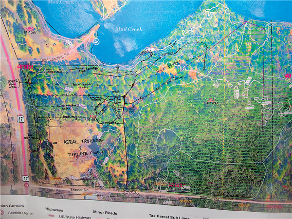 A site map at the Vilas public hearing showed the location of the proposed campground in proximity to Highway 17 and Mud Creek in the town of Lincoln. —Photos By Ken Anderson