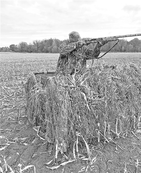 A goose hunter pops out of his portable field blind to take a shot at a passing goose. The Exterior Zone goose hunting season runs through Dec. 16. —STAFF PHOTO