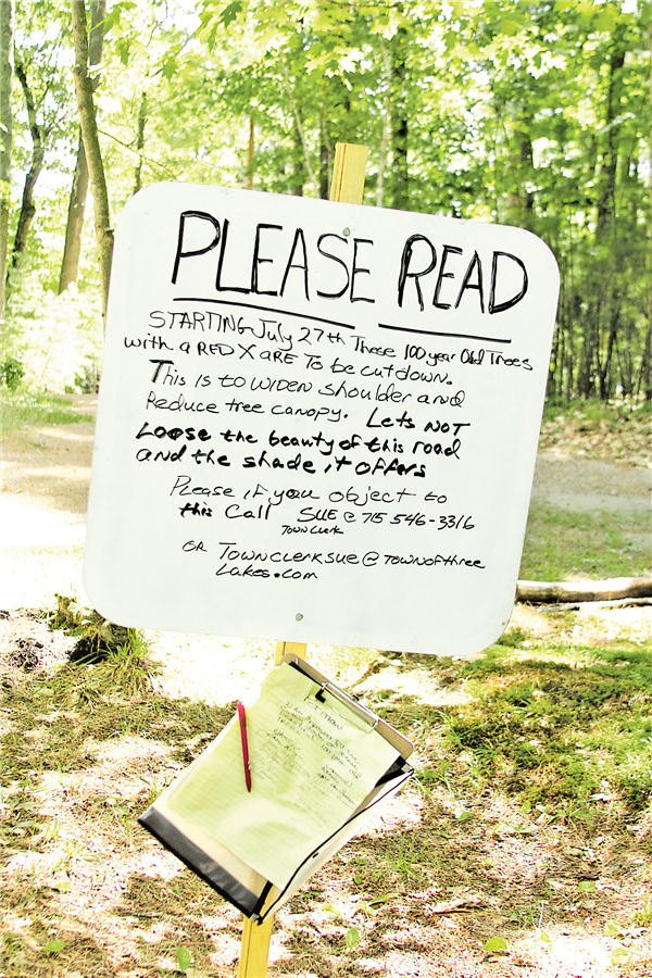 A petition has been started to stop proposed tree-cutting along Van Bussum Board. —STAFF PHOTO
